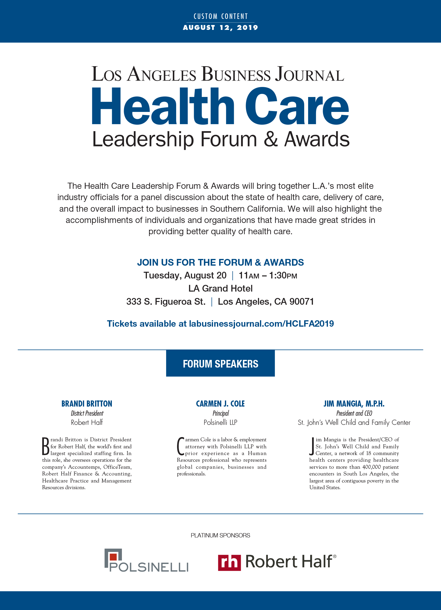 Health Care Leadership Forum Awards Los Angeles Business Journal